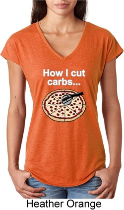 Image of How I Cut Carbs Ladies Tri Blend V-Neck Shirt
