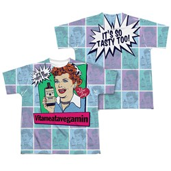 Image of I Love Lucy All Over Vita Comic Sublimation Kids Shirt Front/Back Print
