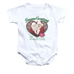 Image of I Love Lucy Baby Romper Seasons Greetings White Infant Babies Creeper