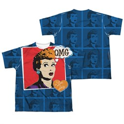 Image of I Love Lucy OMG Sublimation Kids Shirt Front/Back Print