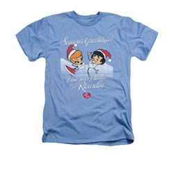 Image of I Love Lucy Shirt Animated Christmas Adult Heather Light Blue Tee T-Shirt