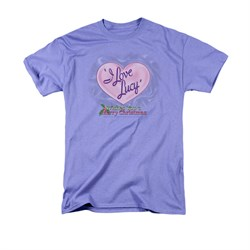 I Love Lucy Shirt Christmas Logo Adult Lavender Tee T-Shirt