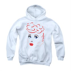 I Love Lucy Youth Hoodie Lines Face White Kids Hoody