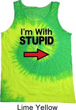 Image of I'm With Stupid Black Print Tie Dye Tank Top
