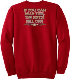 Image of Biker Sweatshirt The Bitch Fell Off Adult Red Sweat Shirt