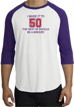 Image of 50th Birthday Shirt I Made It To 50 Raglan Shirt White/Purple
