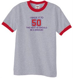 Image of 50th Birthday Shirt I Made It To 50 Ringer Shirt Heather Grey/Red