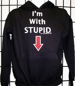 Image of I'm With Stupid Sweatshirt - Pointing Down Hoodie Sweatshirt