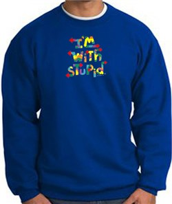 Image of I'm With Stupid Sweatshirt - Funny Two Ways Adult Royal Sweat Shirt