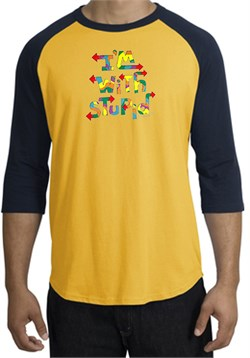Image of I'm With Stupid Raglan Shirt - Funny Two Ways Gold/Navy Tee