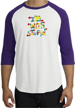 Image of I'm With Stupid Raglan Shirt - Funny Two Ways Adult White/Purple Tee