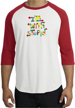 Image of I'm With Stupid Raglan Shirt - Funny Two Ways Adult White/Red Tee