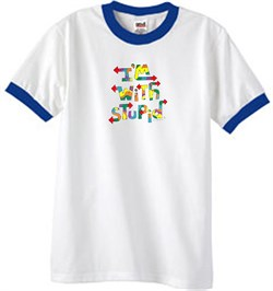 Image of I'm With Stupid Ringer T-Shirt - Funny Two Ways Adult White/Royal Tee