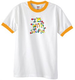 Image of I'm With Stupid Ringer T-Shirt - Funny Two Ways Adult White/Gold Tee