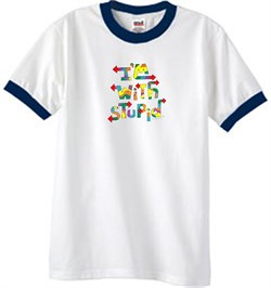 Image of I'm With Stupid Ringer T-Shirt - Funny Two Ways Adult White/Navy Tee