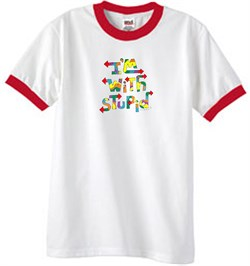 Image of I'm With Stupid Ringer T-Shirt - Funny Two Ways Adult White/Red Tee