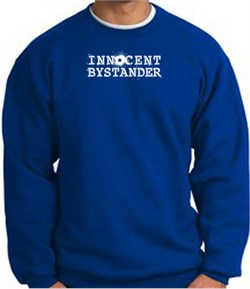 Image of INNOCENT BYSTANDER WHITE Funny Adult Pullover Sweatshirt - Royal