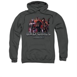 Image of Injustice Gods Among Us Hoodie Bad Girls Charcoal Sweatshirt Hoody