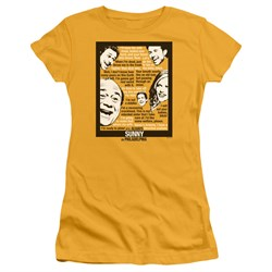 Image of It's Always Sunny In Philadelphia Juniors Shirt Sunny Quotes Gold T-Shirt