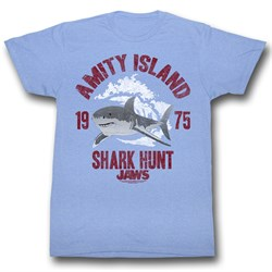 Image of Jaws Shirt Shark Hunt Adult Light Blue Tee T-Shirt