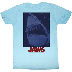 Image of Jaws Shirt Shark Underwater Adult Light Blue Tee T-Shirt