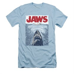 Image of Jaws Shirt Slim Fit Graphic Poster Light Blue T-Shirt