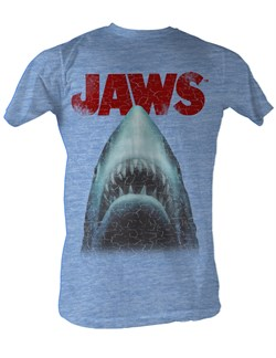 Image of Jaws T-shirt Distressed Jaws Head Adult Light Blue Heather Tee Shirt
