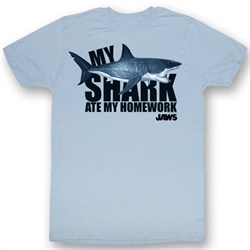 Image of Jaws T-shirt Movie Shark No Homework Adult Light Blue Tee Shirt