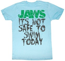 Image of Jaws T-shirt Movie Shark Not Safe Adult Light Blue Tee Shirt
