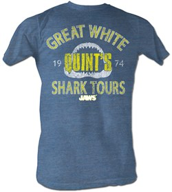 Image of Jaws T-shirt Movie Shark Shark Tour Adult Blue Heather Tee Shirt
