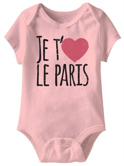 Image of Je T'aime Le Paris Funny Baby Romper Pink Infant Babies Creeper