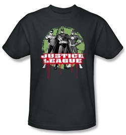 Justice League Kids T-shirt JLA Trio Youth Charcoal Gray Tee Shirt