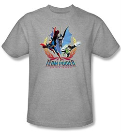 Justice League Superheroes T-shirt - Team Power Adult Heather Gray Tee