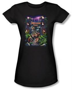 Image of Jurassic Park Juniors T-shirt Movie Welcome To The Park Black Shirt