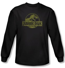Image of Jurassic Park T-shirt T Distressed Logo Adult Black Long Sleeve Tee