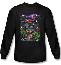 Image of Jurassic Park T-shirt Welcome To The Park Adult Black Long Sleeve