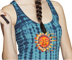 Image of Juniors Size Yoga Racerback Tank - Sleeping Sun