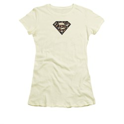 Justice League Embroidered Shirt Juniors Leopard Superman Cream T-Shirt