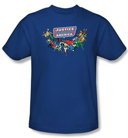 Image of Justice League Kids T-shirt DC Comics Here They Come Youth Blue Shirt