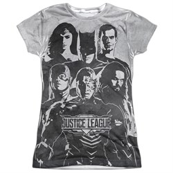 Image of Justice League Movie Black & White Sublimation Juniors Tee Front/Back