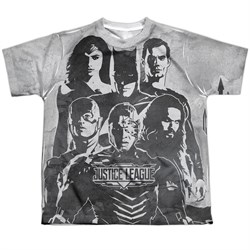 Image of Justice League Movie Black and White Sublimation Kids Shirt Front/Back