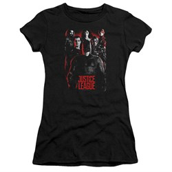 Justice League Movie Juniors Shirt The League Red Glow Black T-Shirt