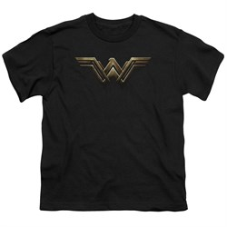 Justice League Movie Kids Shirt Wonder Woman Logo Black T-Shirt