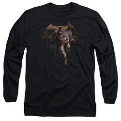Image of Justice League Movie Long Sleeve Caped Crusader Black Tee T-Shirt
