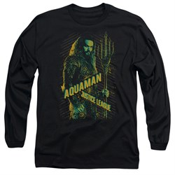 Justice League Movie Long Sleeve Shirt Aquaman Black Tee T-Shirt