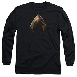 Justice League Movie Long Sleeve Shirt Aquaman Logo Black Tee T-Shirt