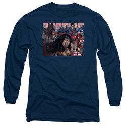 Justice League Movie Long Sleeve Shirt Rally Navy Tee T-Shirt