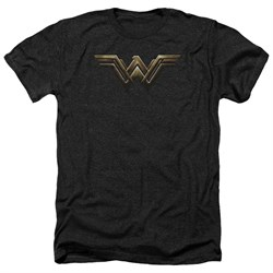 Justice League Movie Shirt Wonder Woman Logo Heather Black T-Shirt