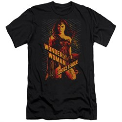 Justice League Movie Slim Fit Shirt Wonder Woman Black T-Shirt