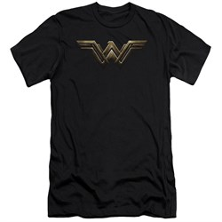 Justice League Movie Slim Fit Shirt Wonder Woman Logo Black Tee